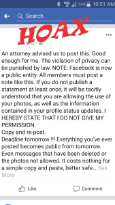 FB Privacy notice hoax